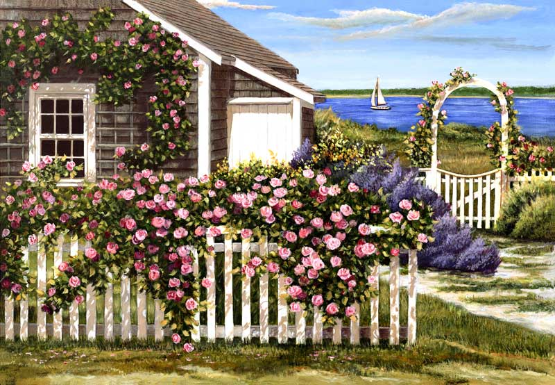 Painting by Tom Mielko - Harbor Roses