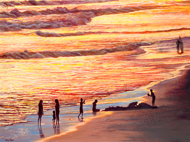 Painting by Tom Mielko, Sunset Surf